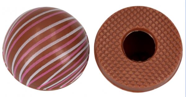 Halbkugeln mit Linien Vollmilch - Folie je 54 Stück