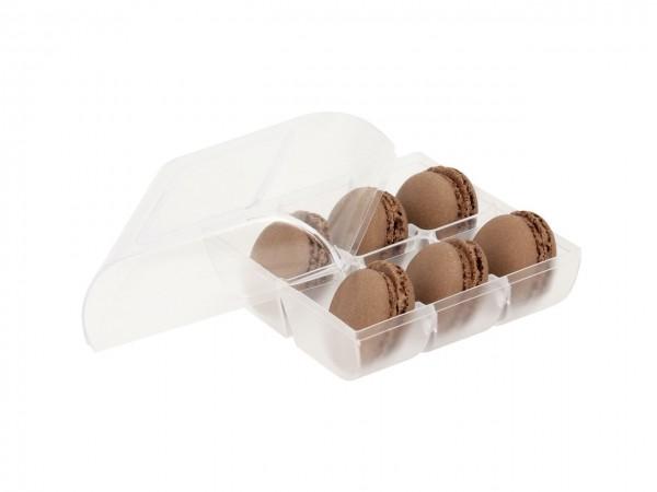 Macaron-Halbschalen 12 Stück braun incl. 6er Box transparent