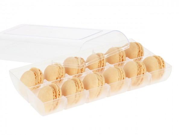Macaron-Halbschalen 24 Stück gelb Incl. 12er Box transparent