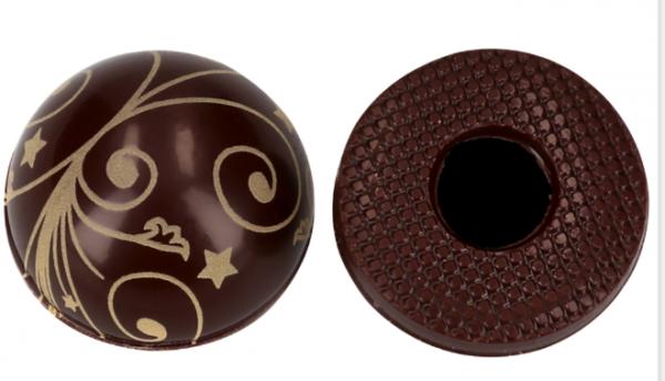 Halbkugeln mit Ornamenten Zartbitter - Folie je 54 Stück