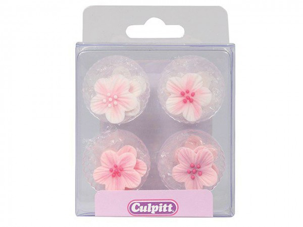Zuckerdekor Blumen rosa 12 Stk