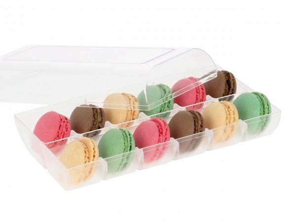 Macaron-Halbschalen 24 Stück bunt Incl. 12er Box transparent