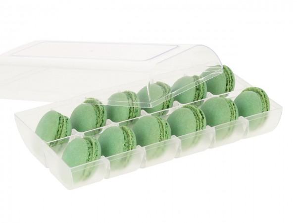 Macaron-Halbschalen 24 Stück grün incl. 12er Box transparent