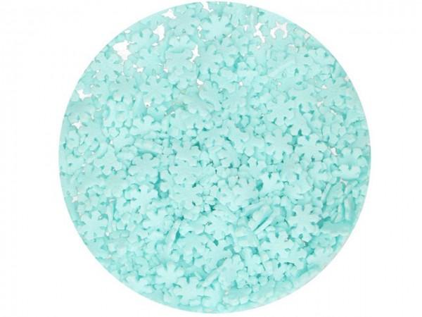 Zuckerdeko Glitter Schneeflocken blau 50g