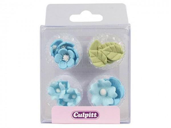 Zuckerdekor Blumen & Blätter blau 16 Stk