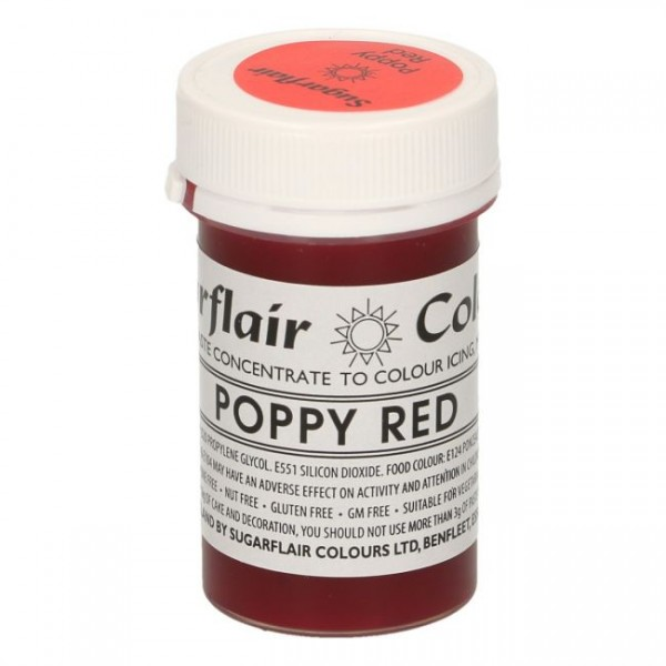 Sugarflair - Pastenfarbe - Poppy Red 25g