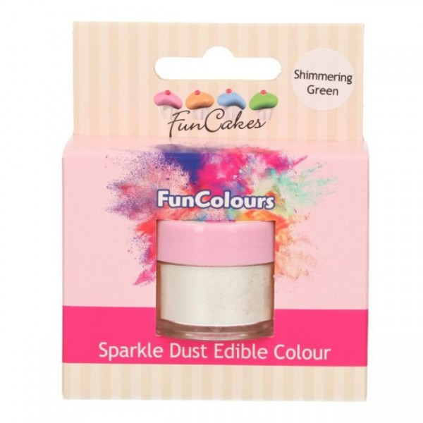 FunCakes Edible FunColours Sparkle Dust - Shimmering Green