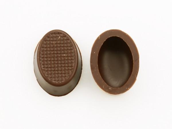 Oval-Schalen Hohlkörper Zartbitter - Folie je 63 Stück
