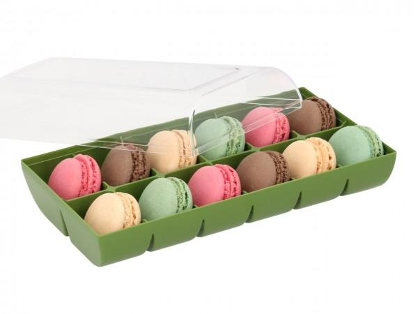 Macaron-Halbschalen 24 Stück bunt Incl. 12er Box grün