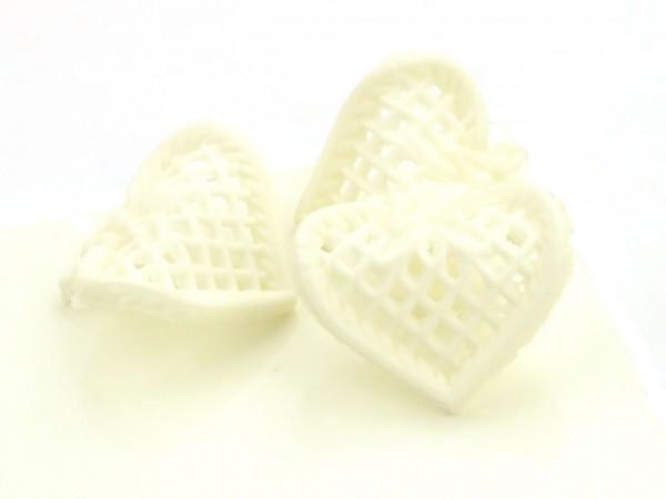 Zuckerdekor Ornamente Filigran Herzen weiß 5 Stk