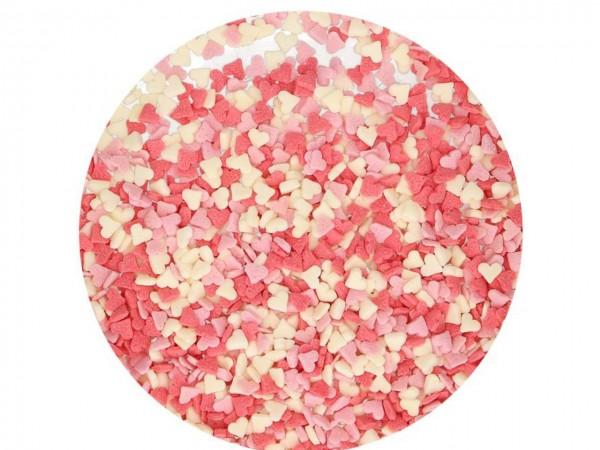 Streudekor Mini Herzen rosa-weiß 60g