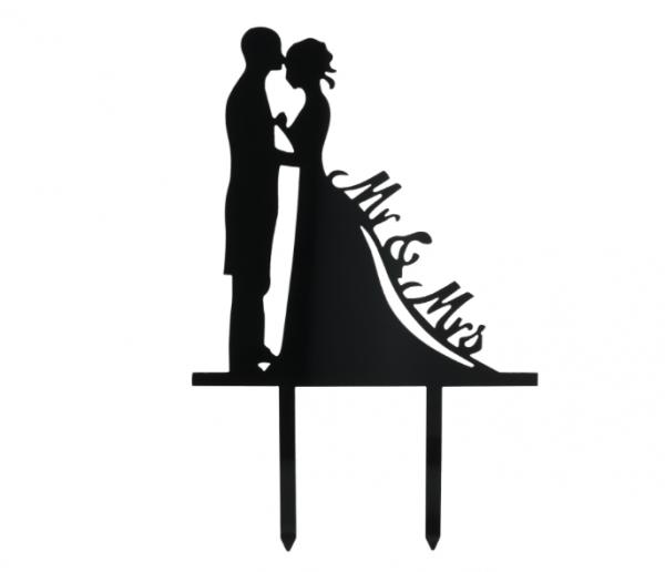Mr. & Mrs. schwarz Cake Topper