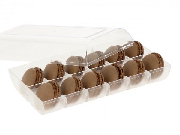 Macaron-Halbschalen 24 Stück braun incl. 12er Box transparent