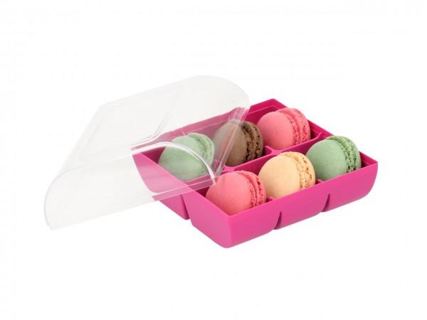 Macaron-Halbschalen 12 Stück bunt Incl. 6er Box fuchsia