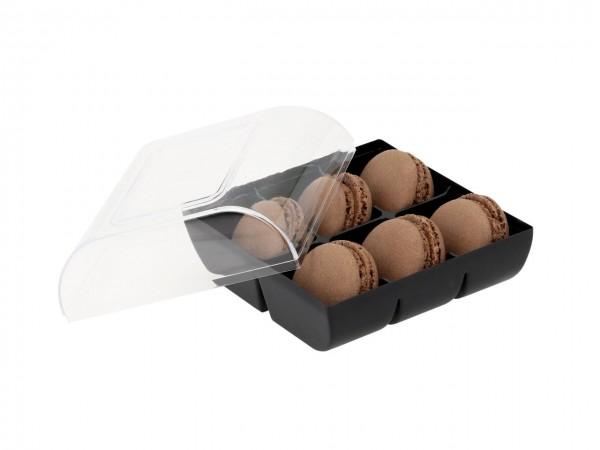 Macaron-Halbschalen 12 Stück braun incl. 6er Box schwarz