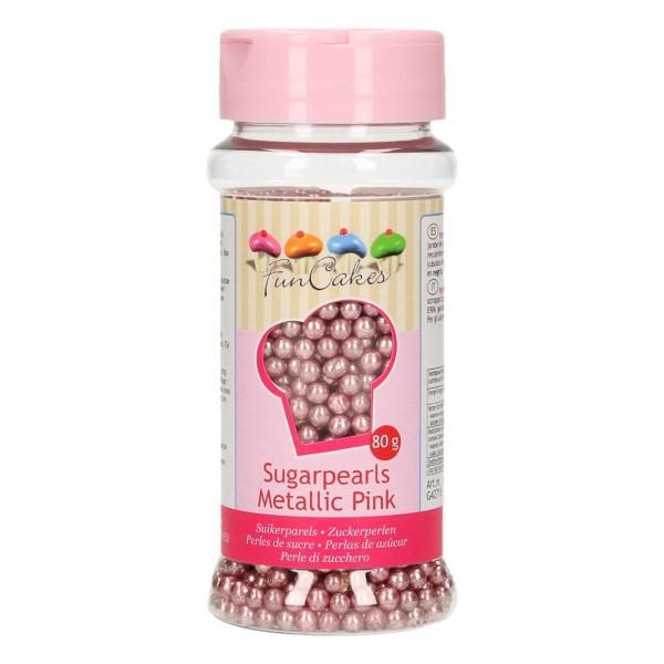 FunCakes Zuckerperlen Metallic Rosa