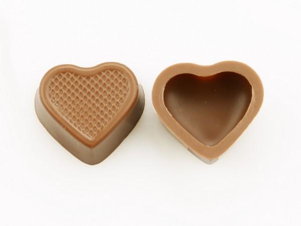 Herzschalen Hohlkörper Vollmilch - Folie je 54 Stück
