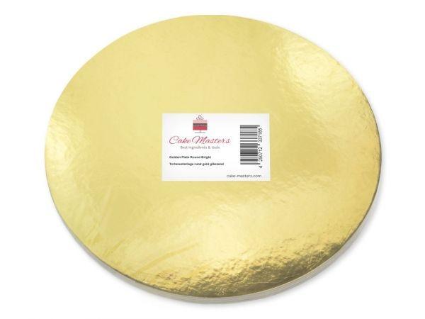 Cake Card Gold Rund 15 cm, 10 Stück