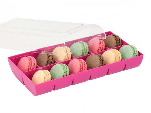 Macaron-Halbschalen 24 Stück bunt Incl. 12er Box fuchsia