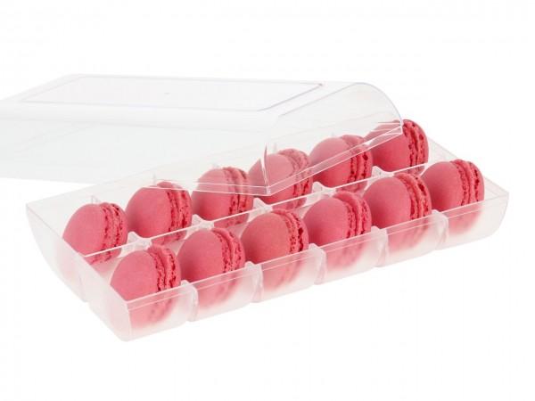 Macaron-Halbschalen 24 Stück rot incl. 12er Box transparent