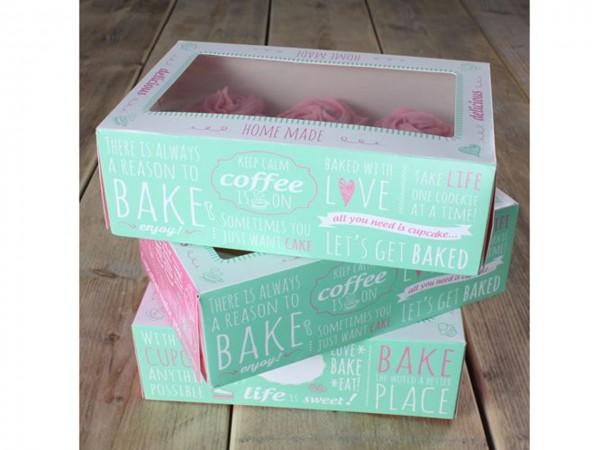 Cupcake Box Zitate 24x16x8 cm 3 Stück