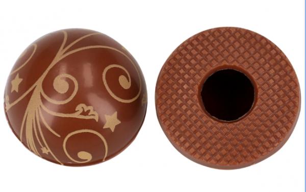 Halbkugeln mit Ornamenten Vollmilch - Folie je 54 Stück