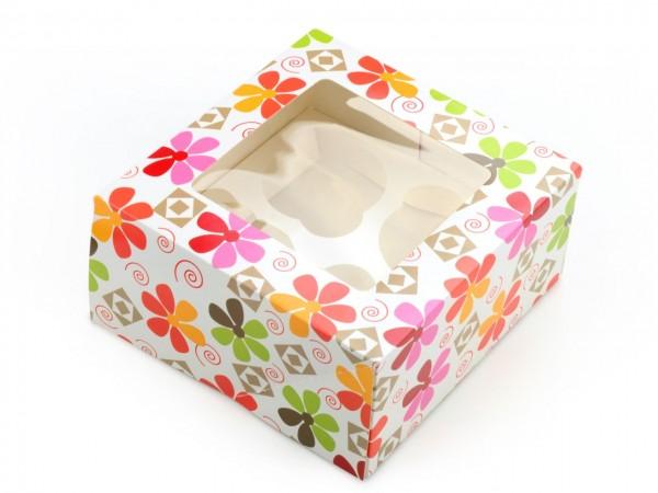 """Cupcake Box """"Blumen"""" 2er Set"""