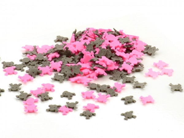 Streudekor Totenköpfe pink-schwarz 40g