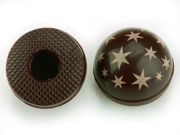 Halbkugeln mit Sternen Zartbitter - Folie je 54 Stück