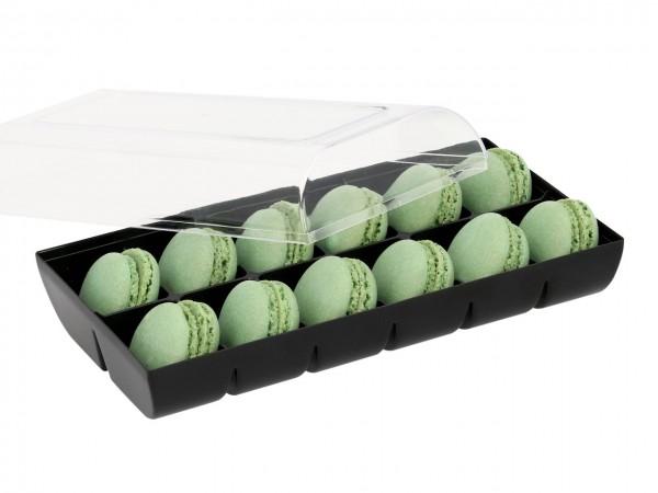 Macaron-Halbschalen 24 Stück grün incl. 12er Box schwarz