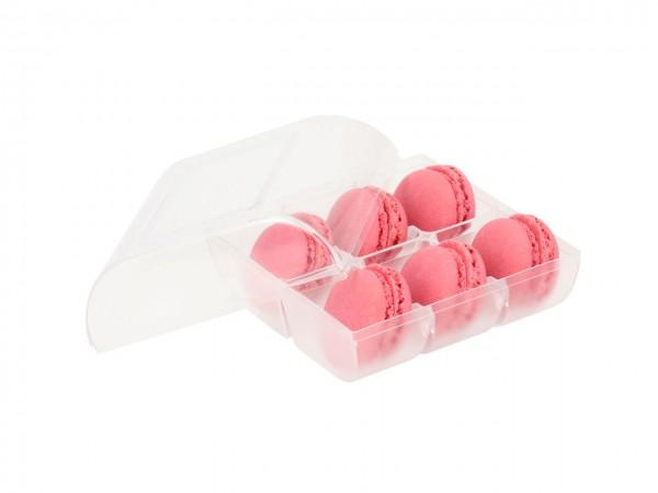 Macaron-Halbschalen 12 Stück rot Incl. 6er Box transparent