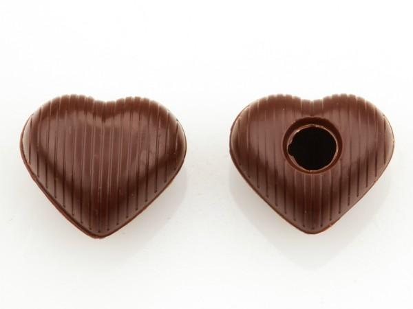 Medium Herz Hohlkörper Zartbitter - Folie je 54 Stück