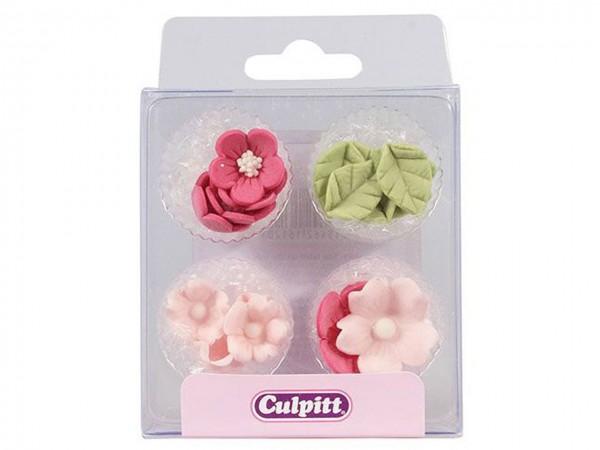 Zuckerdekor Blumen & Blätter rosa 16 Stk