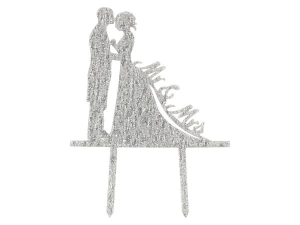 Mr. & Mrs. silber Cake Topper