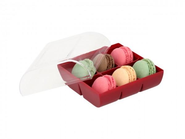 Macaron-Halbschalen 12 Stück bunt Incl. 6er Box ruby