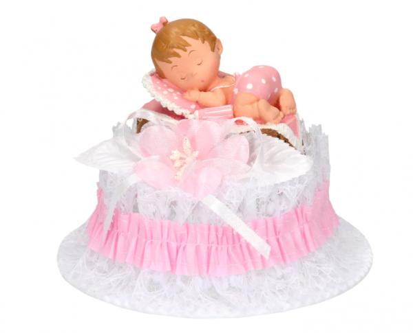 Tortenaufsatz Baby im Korb, rosa