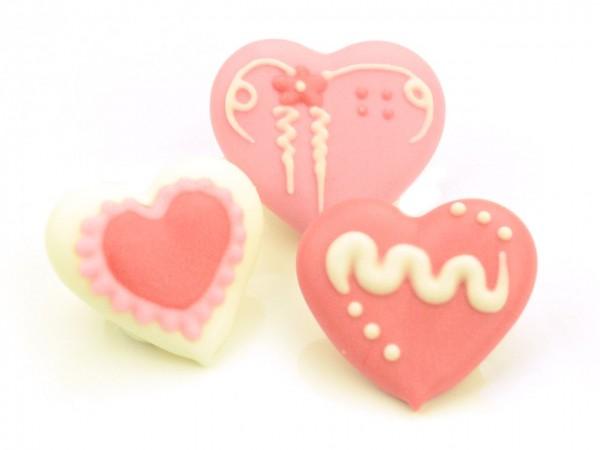 Zuckerdekor Herzen rot 4 Stk
