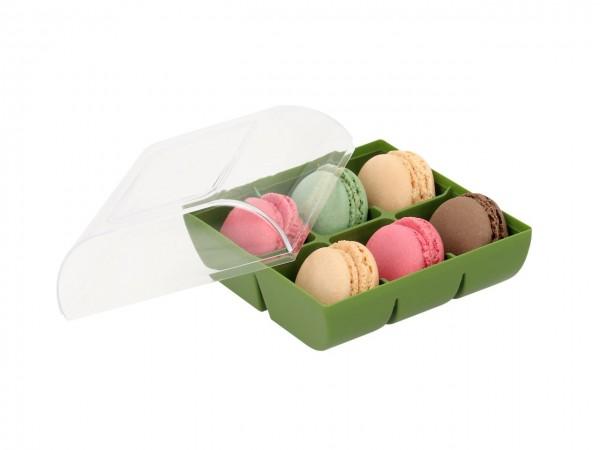 Macaron-Halbschalen 12 Stück bunt Incl. Box grün