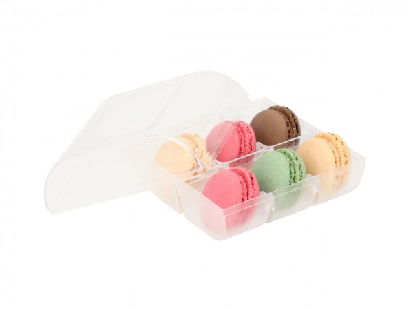 Macaron-Halbschalen 12 Stück bunt Incl. 6er Box transparent