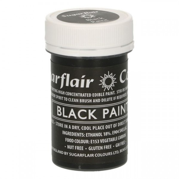 Sugarflair - Pastenfarbe Matt Black 20g