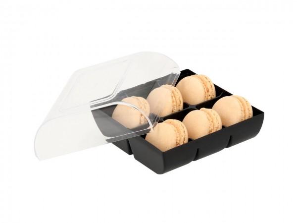 Macaron-Halbschalen 12 Stück gelb incl. 6er Box schwarz