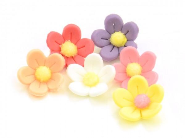 Zuckerdekor Blumen bunt 10 Stk 21mm