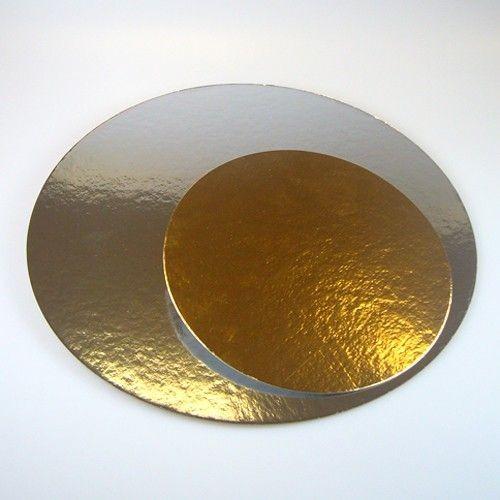 Cake Card Gold/Silber Rund 20 cm, 3 Stück
