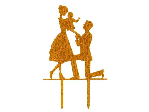 Brautpaar mit Kind gold Cake Topper