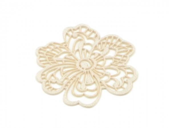 Spitzendekor Flower pearl white