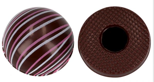 Halbkugeln mit Linien Zartbitter - Folie je 54 Stück