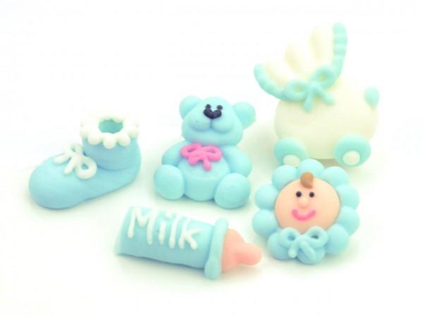 Zuckerdekor Taufset Baby blau 5 Stk