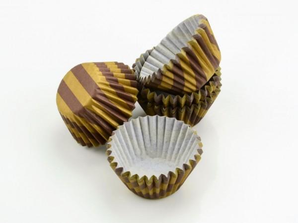 Pralinenförmchen 25mm braun/gold 100 Stüc