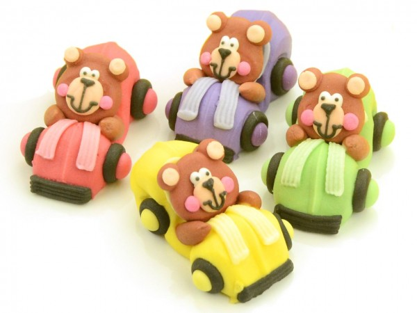 Zuckerdekor Bären im Auto 4 Stk