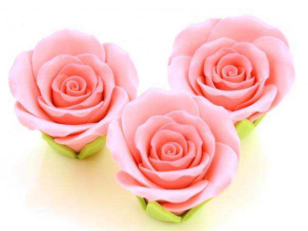 Zucker Rosen rosa 50 mm 3 Stk